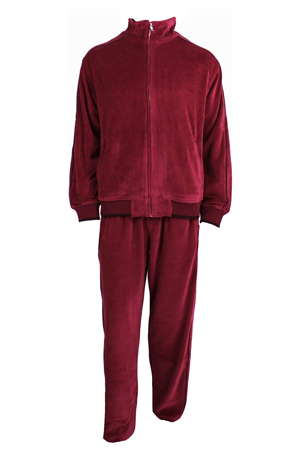 XXLarge Sweatsedo Burgundy Mens Velour Tracksuit