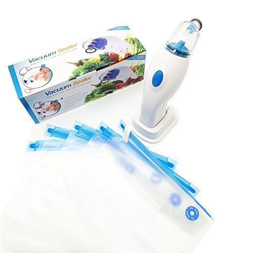 Portable Wireless Handheld Vacuum Sealer with 5 Pieces Reusable Food Vacuum Sealers Bags ()