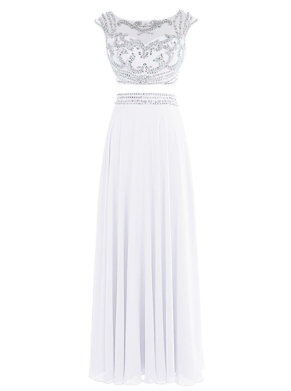 Snowskite Women's Long Two Pieces Chiffon Beaded Prom Evening Dress White 0
