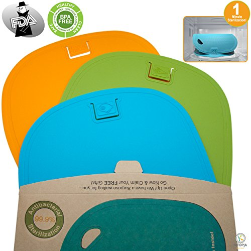 Flexible Set Chopping Mats (Kitopia's Plastic Cutting Board Set. 3 Antibacterial Chopping Boards That Sterilize in 60 Seconds)