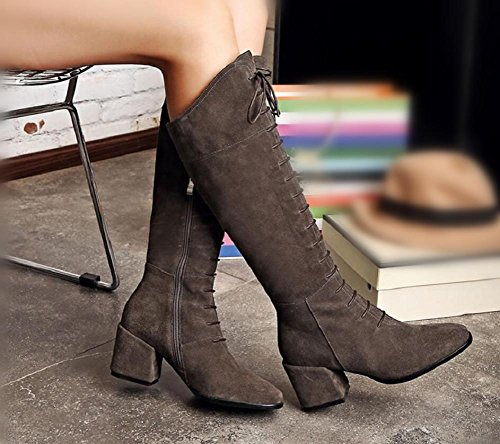 lunghi 34 sopra gray retrò le Cross donna di di ginocchio stivali dei cinturino alta dita della Scarpe punta coscia 34 GRAY il cuoio piedi q1vnH