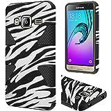 HR Wireless Cell Phone Case for Samsung Galaxy J3 - Retail Packaging - Zebra/Black