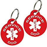 Service Dog ID Tags - Personalized Front and Back Premium Aluminum (Set of 2) (Regular, Round Red)
