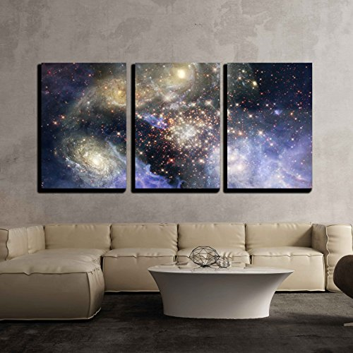 Star Field in Space a Nebulae and a Gas Congestion x3 Panels