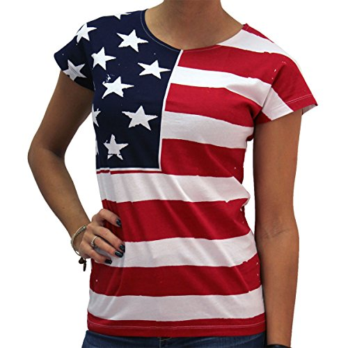 - Flag FR200 - Frank Allover Junior Cut Ladies American Flag T-Shirt (XXL, White)