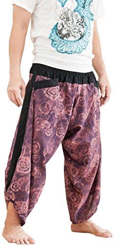 BohoHill Ninja Samurai Harem Pants Unisex Active Trousers Dye Batik Purple by BohoHill