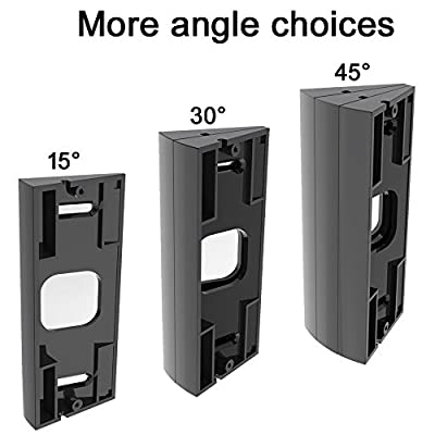 CAVN 3-Pack Adjustable ( 15 to 45 Degree) Ring Video Doorbell Pro Angle Mount Corner Wedge Kit Angle Adjustment Adapter Mounting Plate Bracket for Ring Video Doorbell Pro (More angle choices),Black
