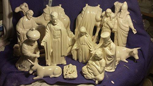 Satin Glazed Ceramic Nativity Set 19 piece by Creative Kreations Ceramics