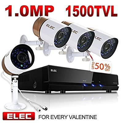ELEC 4 Channel 960H DVR System with 4 HD Indoor/Outdoor Security Cameras & 1TB HDD (4CH 2CAM)