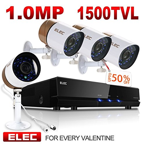 ELEC 1500TVL 960H 8CH HDMI DVR Video CCTV Security Camera System Outdoor/Indoor IR-CUT Night Vision 4 Cameras Surveillance Kit, IP66 Weatherproof, NO Hard Drive
