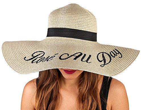 - Foxy Grey Embroidered Sun Hats for Women | Beach Accessories | Straw Hat | Floppy Hats for Women | Rose All Day, OS