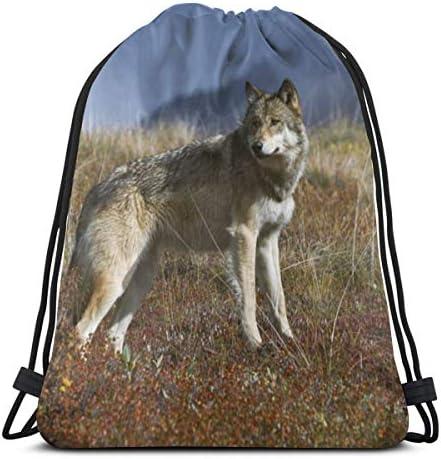 男の子と女の子のジムバッグ用ウルフドローストリングバッグ36 x 43cm