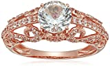 10k Rose Gold Created White Sapphire Filigree Ring, Size 7