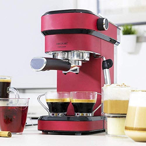 Cecotec Cafelizzia 790 Shiny - Cafetera para Espressos y Cappuccino, 1350 W, Sistema Thermoblock, 20 Bares, Modo Auto para 1-2 Cafés, Vaporizador Orientable, 1.2L, Rojo: Amazon.es: Hogar