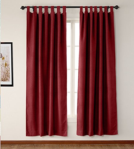 Tab Top Thermal Drapery - SeeSaw Home Luxury Textured Elegant Solid Faux Linen Thermal Insulated Tab Top Curtains - Eco Friendly Drapery Panel for Living Room, 50W By 63L Inch, 1 Panel, Burgundy