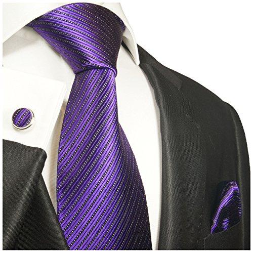 Cravate homme violet rayée ensemble de cravate 3 Pièces ( longueur 165cm )