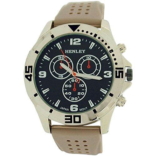 Henley Men's Black Large Analogue Dial Beige Rubber Strap Watch H02106.2 - Beige Dial Rubber Strap