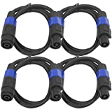 Seismic Audio - SPXC-3-4Pack - 4 Pack of 3 Foot Professional Speakon Extension Cables - Speakon Male to Speakon Female - 12AWG 2 Conductor Speaon Extension Cables
