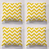 Cushion sets, set of 4 garden cushions, 4 funky outdoor cushions, 4 x Cheveron Cushiosns perfect for indoors and outdoors (yellow)