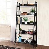 Jukert 5-Tier Ladder Shelf, Industrial Bookshelf Wood and Metal Bookshelves, Plant Flower Stand Rack Storage Shelves for Home Decor