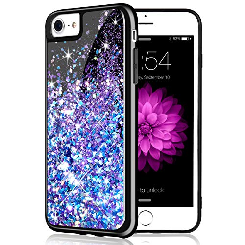 - Caka iPhone 7 Case, iPhone 7 Glitter Case [Starry Night Series] Bling Flowing Floating Luxury Liquid Sparkle TPU Bumper Glitter Case for iPhone 6/6S/7/8 (4.7 inch) - (Blue Purple)