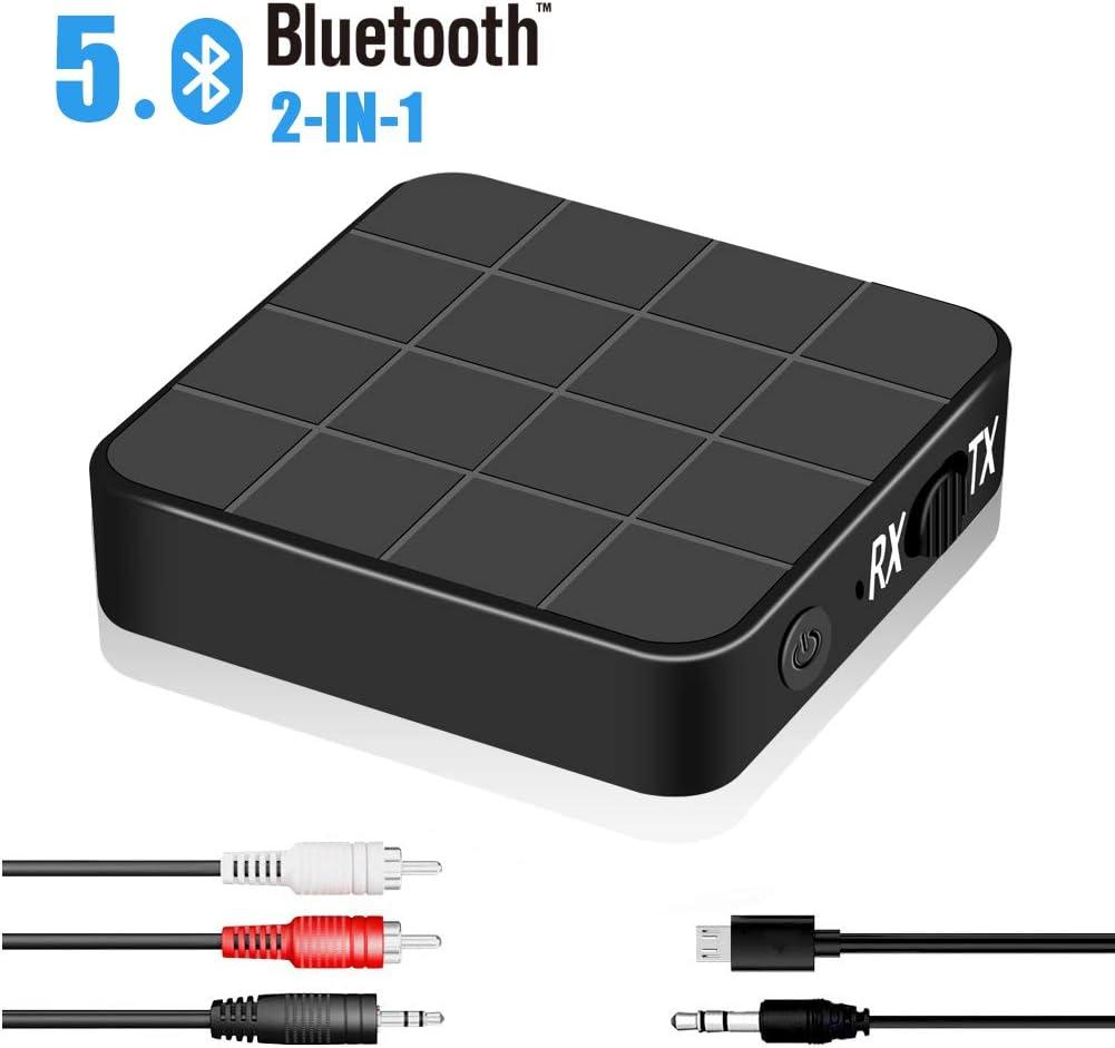 Adaptador Bluetooth 2 en 1 Transmisor Receptor Bluetooth 5.0 Inalámbrico con RCA & 3.5mm AUX para TV, Audio, Música Inalámbrico en Coche
