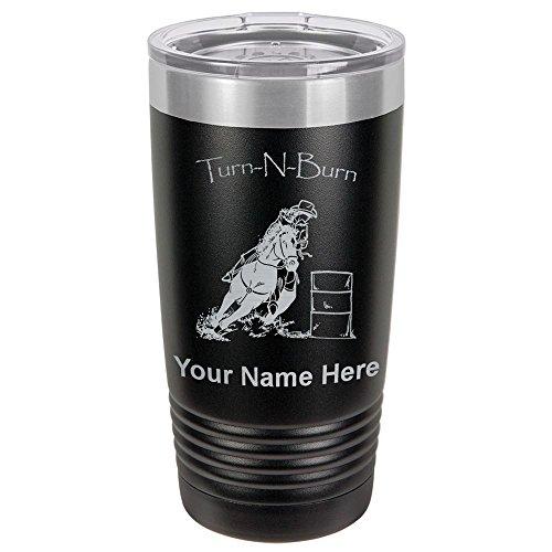 20oz Tumbler Mug, Barrel Racer Turn N Burn, Personalized Engraving Included (Black) -