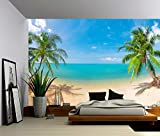 Picture Sensations Canvas Texture Wall Mural, Seascape Palm Beach, Self-adhesive Vinyl Wallpaper, Peel & Stick Fabric Wall Decal - 144x96