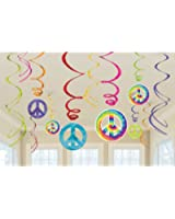 """Amscan Groovy 60's Party Peace Sign Swirl Decorations Value Pack (12 Piece), Multi Color, 10 x 9.5"""""""