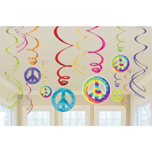 Amscan Groovy 60's Party Peace Sign Swirl Decorations Value Pack, One Size, Multicolor, 6ct -