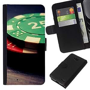 LECELL--Cuero de la tarjeta la carpeta del tirón Smartphone Slots Protección Holder For LG OPTIMUS L90 -- Fichas de póquer --