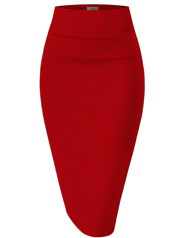 HyBrid & Company レディーズ エラスティック ウエスト ストレッチ オフィス ペンシル スカート ビューティフル プリント B01ELTTFG0 Lサイズ|レッド レッド Lサイズ