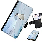 Hairyworm - Penguin standing amongst icebergs ZTE nubia Z11 mini leather side flip wallet cell phone case, cover with card slots, money slot and magnetic clasp to close.