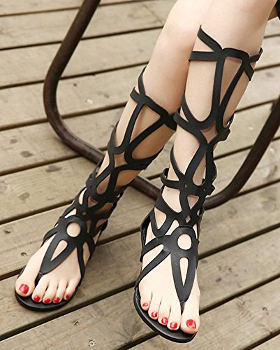 e15ab13a130 IDIFU Women s Sexy Cut Out Strappy Thong Low Wedge Heel Knee High Gladiator  Sandals Zipper Black