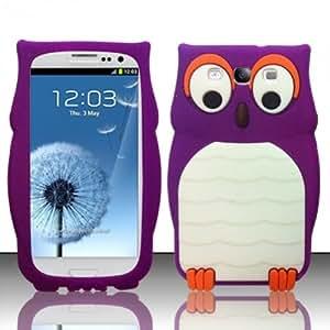 Minidandan 3d Cute Cartoon Owl Soft Silicon Cover Case for Samsung Galaxy S3 I9300 Purple