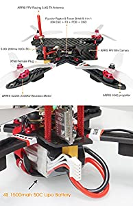 ARRIS X220 220mm RC Quadcopter FPV Racing Drone RTF with Radiolink AT9S Transmitter + Flycolor 4-in-1 Tower + 4S Battery HS1177 Camera by Hobby-Wing