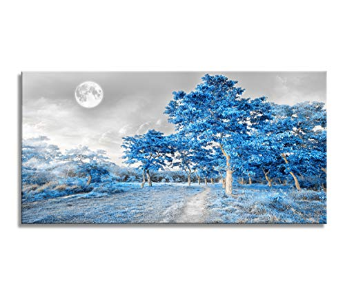 youkuart Wall Art for Living Room Bedroom Simple Life Blue Moon Tree Artwork Painting Office Wall Decor 20″ x 40″ Single Pieces Canvas Prints Ready to Hang for Home Decoration