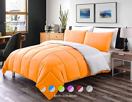 Luxe Bedding 3-PCS Reversible Down Alternative Quilted Duvet / Comforter Set - All Season Hotel Quality (Twin, Orange / Gray)