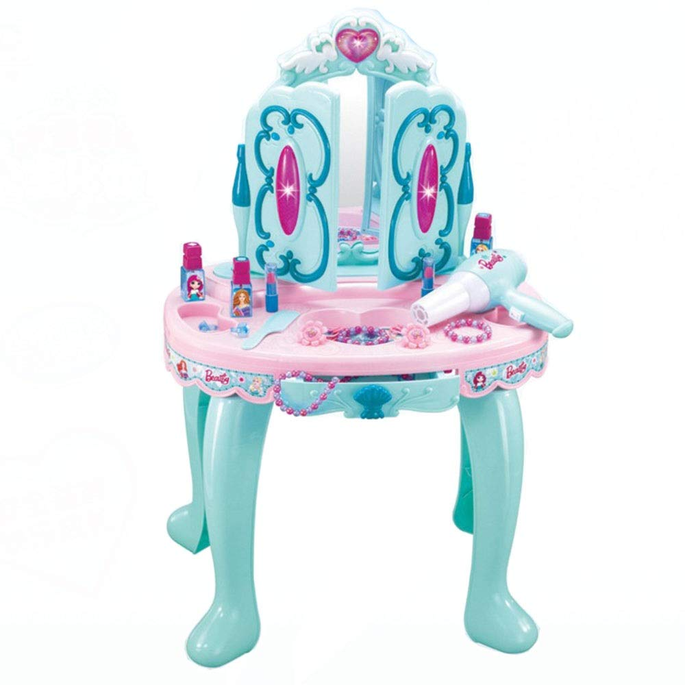 Kindlov-toys Children's Vanity Beauty Dresser Table Play Play Pretend Play Kids Vanity Dressing Table Beauty Play Set Toy for Kids Girls (Color : Blue, Size : 724730cm)
