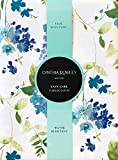 Cynthia Rowley Easy Care Tablecloth Floral Pattern in Shades of Blue and Green on White, Spring Bouquet (60 Inches x 104 Inches)