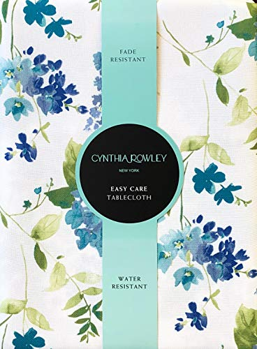 Cynthia Rowley Easy Care Tablecloth Floral Pattern in Shades of Blue and Green on White, Spring Bouquet (70 Inches ()