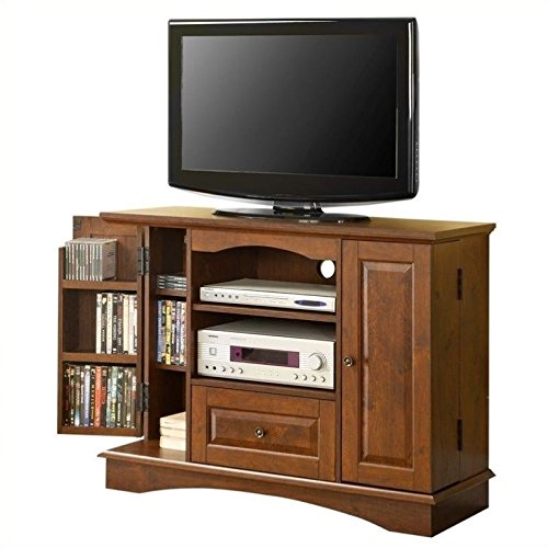 """Walker Edison 42"""" Highboy Style Wood TV Stand Console, Brown"""