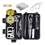 Alritz Survival Kit, 12-in-1 Emergency Lifesaving Tools Outdoor Survival Gear Contains Folding Knife, Compass, Flashlight for Camping Hiking Wilderness Adventures and Disaster Preparedness