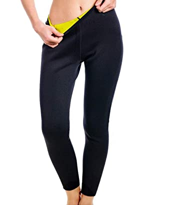 5dd59dbd4614f Amazon.com  LAZAWG Women High Waist Trainer Sauna Pants Slimming Yoga  Capris Neoprene Sweat Leggings for Weight Loss  Clothing
