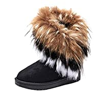 Warm Fur Winter Boots for Women - Stylish Womens Winter Boots Mid Calf Ankle Boots Faux Fur Tassel Shoes Black
