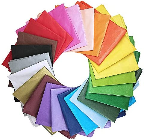 Supla 120 Sheets 24 Colors Tissue Paper Bulk Wrapping Tissue Paper Art Rainbow Tissue Paper 20 x 26″ for Art Craft Floral Birthday Party Festival Gift Wrapping Decorative Tissue Paper Pom Pom