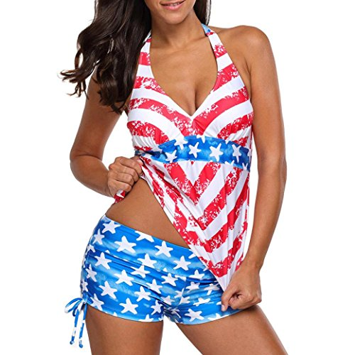 88 Red Star - Coohole 2 Piece American USA Flag Print Stars Beach Halter Surfing Bathing Suit Swimwear (L, Red)