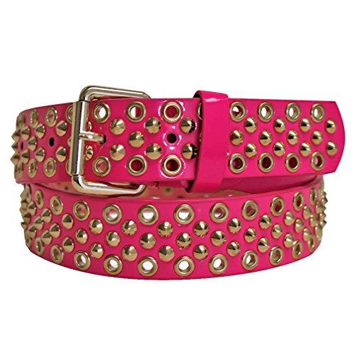 Grommet Studded Belt (Neon Pink Golden Studded Spike Grommet Belt Size Small)