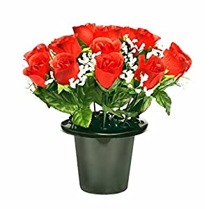 ARTIFICIAL RED ROSE GRAVE POT WITH 16 FLOWERS - VASE INSERT MEMORIAL by A1-Homes 9