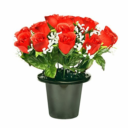 ARTIFICIAL-RED-ROSE-GRAVE-POT-WITH-16-FLOWERS-VASE-INSERT-MEMORIAL-by-A1-Homes